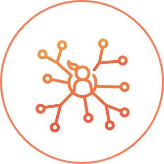 Icon with person at center and a network extending from them