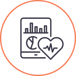 chart and heart rate icon